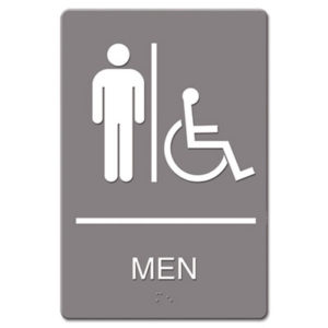 (USS4815)USS 4815 – ADA Sign, Men Restroom Wheelchair Accessible Symbol, Molded Plastic, 6 x 9, Gray by U. S. STAMP & SIGN (/)