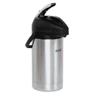 (BUNAIRPOT30)BUN AIRPOT30 – 3 Liter Lever Action Airpot, Stainless Steel/Black by BUNN-O-MATIC (1/EA)