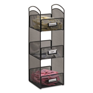(SAF3290BL)SAF 3290BL – Onyx Breakroom Organizers, 3 Compartments, 6 x 6 x 18, Steel Mesh, Black by SAFCO PRODUCTS (1/EA)