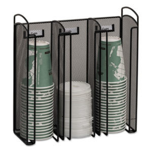 (SAF3292BL)SAF 3292BL – Onyx Breakroom Organizers, 3Compartments, 12.75×4.5×13.25, Steel Mesh, Black by SAFCO PRODUCTS (1/EA)