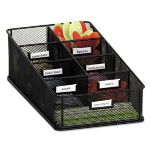 (SAF3291BL)SAF 3291BL – Onyx Breakroom Organizers, 7 Compartments, 16 x8 1/2×5 1/4, Steel Mesh, Black by SAFCO PRODUCTS (1/EA)