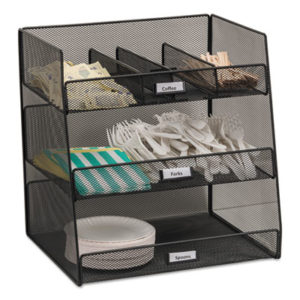 (SAF3293BL)SAF 3293BL – Onyx Breakroom Organizers, 3 Compartments,14.625×11.75×15, Steel Mesh, Black by SAFCO PRODUCTS (1/EA)
