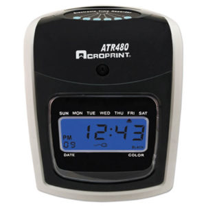 (ACP010285001)ACP 010285001 – ATR480 Time Clock Bundle, LCD, Automatic, White/Charcoal by ACRO PRINT TIME RECORDER (1/EA)