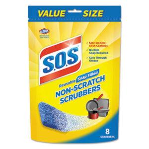 (CLO10005PK)CLO 10005PK – Non-Scratch Soap Scrubbers, Blue, 8/Pack by CLOROX SALES CO. (8/PK)
