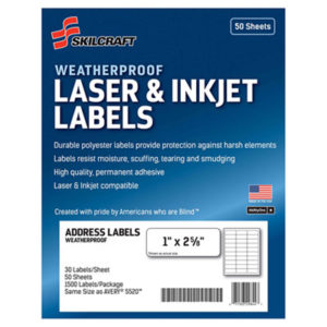 (NSN6736516)NSN 6736516 AbilityOne® SKILCRAFT® Weatherproof Mailing Labels ( Per )