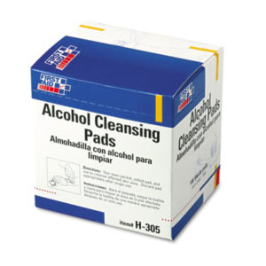 (FAOH305)FAO H305 – Alcohol Cleansing Pads, Dispenser Box, 100/Box by FIRST AID ONLY, INC. (100/BX)