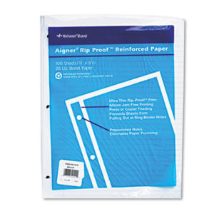 (RED20122)RED 20122 – Rip Proof Reinforced Filler Paper, 3-Hole, 8.5 x 11, Narrow Rule, 100/Pack by REDIFORM OFFICE PRODUCTS (100/PK)