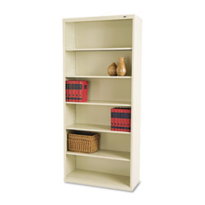 (TNNB78PY)TNN B78PY – Metal Bookcase, Six-Shelf, 34-1/2w x 13-1/2h x 78h, Putty by TENNSCO (/)