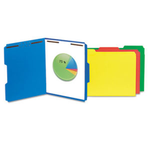 (UNV13521)UNV 13521 – Deluxe Reinforced Top Tab Folders with Two Fasteners, 1/3-Cut Tabs, Letter Size, Blue, 50/Box by UNIVERSAL OFFICE PRODUCTS (50/BX)