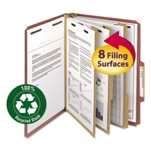 (SMD14099)SMD 14099 – 100% Recycled Pressboard Classification Folders, 3 Dividers, Letter Size, Red, 10/Box by SMEAD MANUFACTURING CO. (10/BX)