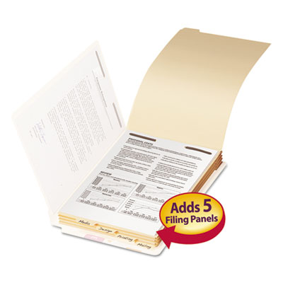 (SMD35650)SMD 35650 – Stackable Folder Dividers w/ Fasteners, 1/5-Cut End Tab, Legal Size, Manila, 50/Pack by SMEAD MANUFACTURING CO. (50/PK)