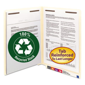 (SMD34160)SMD 34160 – 100% Recycled Manila End Tab Folders with Two Fasteners, Straight Tab, Letter Size, 50/Box by SMEAD MANUFACTURING CO. (50/BX)