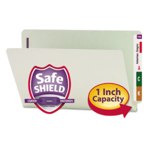"(SMD37705)SMD 37705 – End Tab 1"" Expansion Pressboard File Folders w/Two SafeSHIELD Coated Fasteners, Straight Tab, Legal Size, Gray-Green, 25/Box by SMEAD MANUFACTURING CO. (25/BX)"