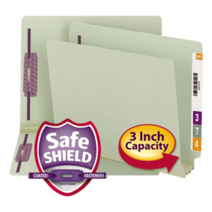 "(SMD34725)SMD 34725 – End Tab 3"" Expansion Pressboard File Folders w/Two SafeSHIELD Coated Fasteners, Straight Tab, Letter Size, Gray-Green, 25/Box by SMEAD MANUFACTURING CO. (25/BX)"