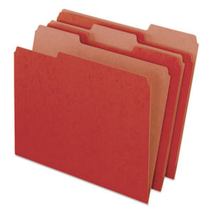 (PFX04311)PFX 04311 – Earthwise by 100% Recycled Colored File Folders, 1/3-Cut Tabs, Letter Size, Red, 100/Box by TOPS BUSINESS FORMS (100/BX)
