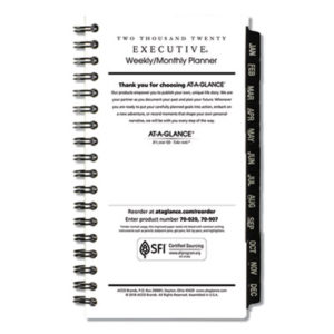 (AAG7090710)AAG 7090710 – Executive Pocket Size Weekly/Monthly Planner Refill, 6 1/4 x 3 1/4, White, 2020 by AT-A-GLANCE (/)