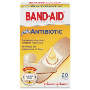(JOJ5570)JOJ 5570 – Antibiotic Adhesive Bandages, Assorted Sizes, 20/Box by JOHNSON & JOHNSON (20/BX)