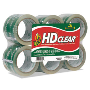 "(DUC0007496)DUC 0007496 – Heavy-Duty Carton Packaging Tape, 3"" Core, 3"" x 54.6 yds, Clear, 6/Pack by SHURTECH (6/PK)"