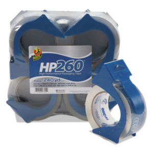 "(DUC0007725)DUC 0007725 – HP260 Packaging Tape with Dispenser, 3"" Core, 1.88"" x 60 yds, Clear, 4/Pack by SHURTECH (4/PK)"