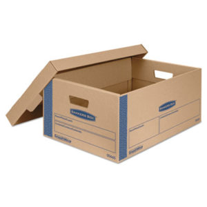 """(FEL0066001)FEL 0066001 – SmoothMove Prime Moving & Storage Boxes, Large, Half Slotted Container (HSC), 24"""" x 15"""" x 10"""", Brown Kraft/Blue, 8/Carton by FELLOWES MFG. CO. (8/CT)"""