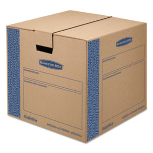 """(FEL0062801)FEL 0062801 – SmoothMove Prime Moving & Storage Boxes, Medium, Regular Slotted Container (RSC), 18"""" x 18"""" x 16"""", Brown Kraft/Blue, 8/Carton by FELLOWES MFG. CO. (8/CT)"""