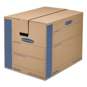 """(FEL0062901)FEL 0062901 – SmoothMove Prime Moving & Storage Boxes, Regular Slotted Container (RSC), 24"""" x 18"""" x 18"""", Brown Kraft/Blue, 6/Carton by FELLOWES MFG. CO. (6/CT)"""