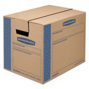 """(FEL0062701)FEL 0062701 – SmoothMove Prime Moving & Storage Boxes, Small, Regular Slotted Container (RSC), 16"""" x 12"""" x 12"""", Brown Kraft/Blue, 10/Carton by FELLOWES MFG. CO. (10/CT)"""