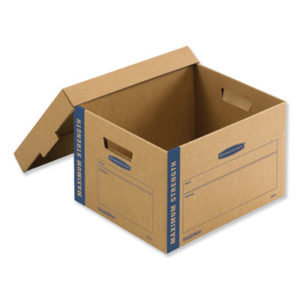 """(FEL7710201)FEL 7710201 – SmoothMove Maximum Strength Moving Boxes, Small, Half Slotted Container (HSC), 15"""" x 15"""" x 12"""", Brown Kraft/Blue, 8/Pack by FELLOWES MFG. CO. (8/CT)"""