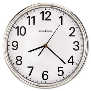 """(MIL625561)MIL 625561 – Hamilton Wall Clock, 12"""" Overall Diameter, Silver Case, 1 AA (sold separately) by HOWARD MILLER CLOCK CO. (1/EA)"""