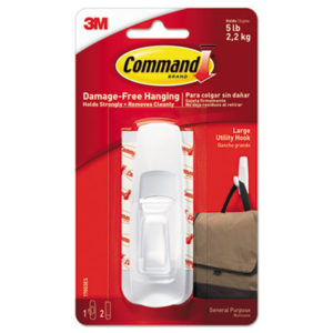 (MMM17003ES)MMM 17003ES – General Purpose Hooks, Large, 5 lb Cap, White, 1 Hook and 2 Strips/Pack by 3M/COMMERCIAL TAPE DIV. (3/PK)