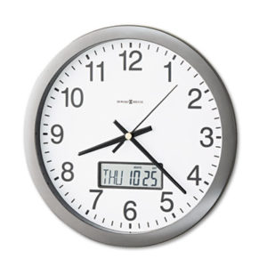 """(MIL625195)MIL 625195 – Chronicle Wall Clock with LCD Inset, 14"""" Overall Diameter, Gray Case, 1 AA (sold separately) by HOWARD MILLER CLOCK CO. (1/EA)"""