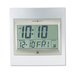 """(MIL625236)MIL 625236 – TechTime II Radio-Controlled LCD Wall or Table Alarm Clock, 8.75"""" x 9.25"""", Silver/Titanium Case, 1 AA (sold separately) by HOWARD MILLER CLOCK CO. (1/EA)"""