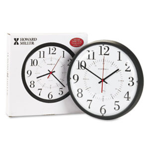 """(MIL625323)MIL 625323 – Alton Auto Daylight Savings Wall Clock, 14"""" Overall Diameter, Black Case, 1 AA (sold separately) by HOWARD MILLER CLOCK CO. (1/EA)"""