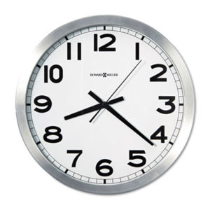 """(MIL625450)MIL 625450 – Spokane Wall Clock, 15.75"""" Overall Diameter, Silver Case, 1 AA (sold separately) by HOWARD MILLER CLOCK CO. (1/EA)"""