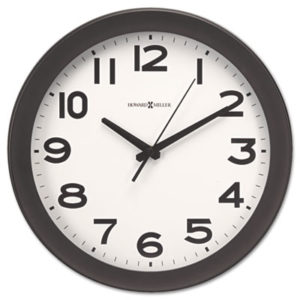 """(MIL625485)MIL 625485 – Kenwick Wall Clock, 13.5"""" Overall Diameter, Black Case, 1 AA (sold separately) by HOWARD MILLER CLOCK CO. (1/EA)"""