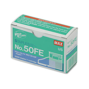 "(MXB50FE)MXB 50FE – Staple Cartridge, 0.31"" Leg, 0.5"" Crown, Steel, 5,000/Box by MAX USA CORP. (5/BX)"