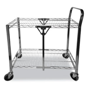 (BOSBSACLGCR)BOS BSACLGCR – Stowaway Folding Carts, 2 Shelves, 35w x 37.25d x 22h, Chrome, 250 lb Capacity by STANLEY BOSTITCH (1/EA)