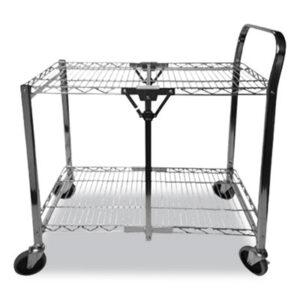 (BOSBSACSMCR)BOS BSACSMCR – Stowaway Folding Carts, 2 Shelves, 29.63w x 37.25d x 18h, Chrome, 250 lb Capacity by STANLEY BOSTITCH (1/EA)