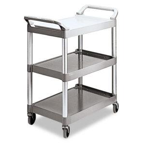 (RCP342488PM)RCP 342488PM – Economy Plastic Cart, Three-Shelf, 18.63w x 33.63d x 37.75h, Platinum by RUBBERMAID COMMERCIAL PROD. (1/EA)