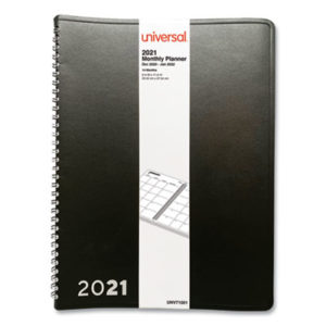 (UNV71001)UNV 71001 – Monthly Planner, 11 x 8, Black, 2021 by UNIVERSAL OFFICE PRODUCTS (1/EA)