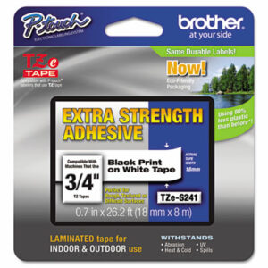 """(BRTTZES241)BRT TZES241 – TZe Extra-Strength Adhesive Laminated Labeling Tape, 0.7"""" x 26.2 ft, Black on White by BROTHER INTL. CORP. (/)"""