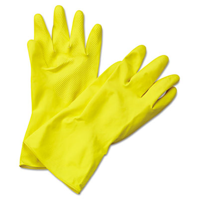 (BWK242XL)BWK 242XL – Flock-Lined Latex Cleaning Gloves, X-Large, Yellow, 12 Pairs by BOARDWALK (12/DZ)