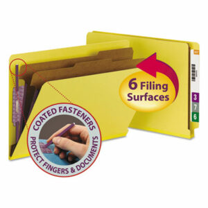 (SMD29789)SMD 29789 – End Tab Colored Pressboard Classification Folders with SafeSHIELD Coated Fasteners, 2 Dividers, Legal Size, Yellow, 10/Box by SMEAD MANUFACTURING CO. (10/BX)